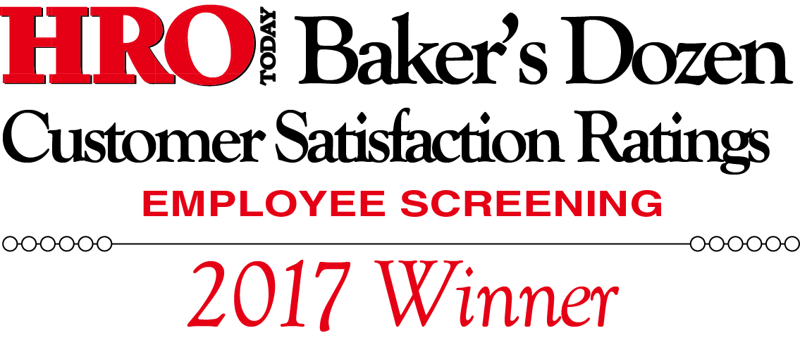 HRO Today Baker's Dozen - Customer Satisfaction Ratings - Employee Screening - 2017 Winner